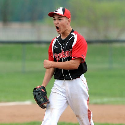 Sheridan's Trey White reacts after striking out Sheridan's