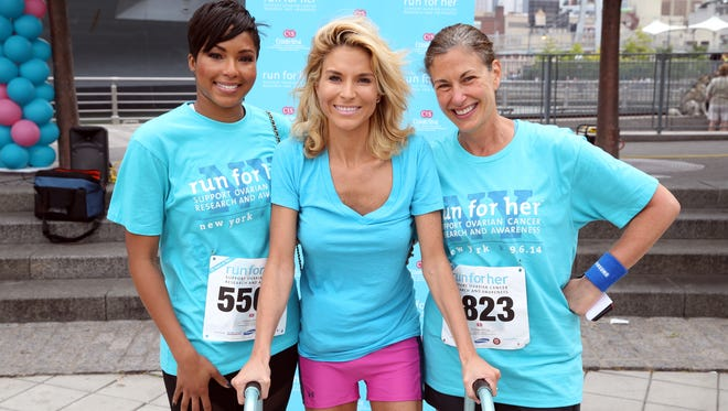 Alicia Quarles, E! News correspondent, reality star Diem Brown, advocate against ovarian cancer, and Dr. Karlan, Director of Cedars-Sinai Womenís Cancer Program on Sept. 6 before a charity run in New York.