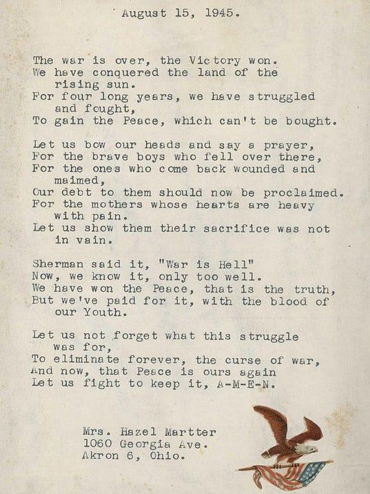 Poem by Hazel Martter written August 15th, 1945-page-001