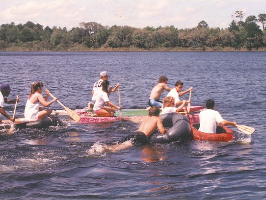 Students hang out in Clear Lake, the actual lake, before