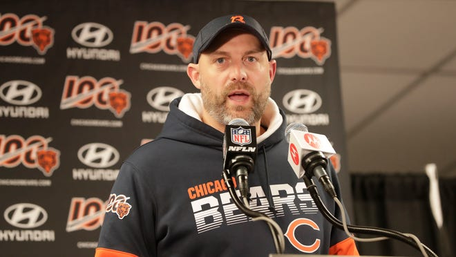 FILE - Chicago Bears head coach Matt Nagy speaks during a news conference following an NFL football game against the Dallas Cowboys, Thursday, Dec. 5, 2019, in Chicago. The heat is on -- and the games haven't even kicked off yet. That's life in the NFL for some coaches who enter the regular season knowing they need to guide their squads through what will be a most unusual regular season and at least keep them in playoff contention into December. (AP Photo/Morry Gash)