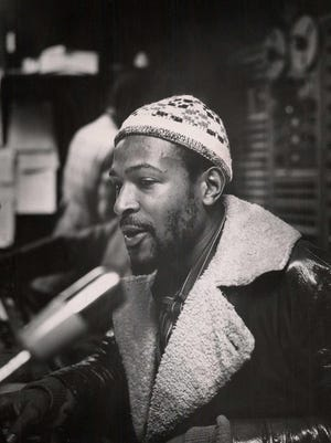Marvin Gaye in the Motown studio console room in early 1971.