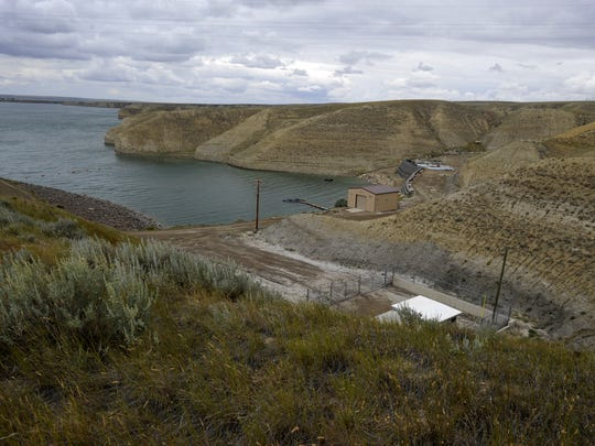 Tiber Reservoir and the construction site, seen at lower right, of a water treatment plant and intake structure for the Rocky Boy's Reservation/North Central Montana Regional Water System.