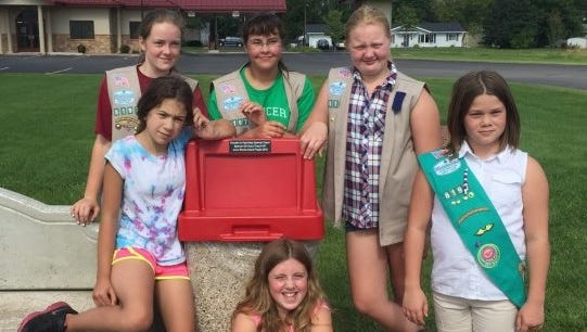 Pictured are Spencer Junior Girl Scout Troop 6197 members Elisha Blanchard, back row from left, Arianna Likes, Samantha Soback; Alyson Brinker, front row from left, Kaelyn Schreiner and Emily Justman. Not pictured is Samantha Budtke.