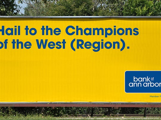 A mock-up billboard by Bank of Ann Arbor