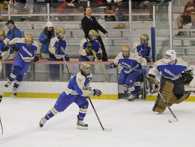 Schroeder's bench clears in celebration as the buzzer sounds. Webster Schroeder advances to the final against Victor with a 4-0 win over Hilton.
