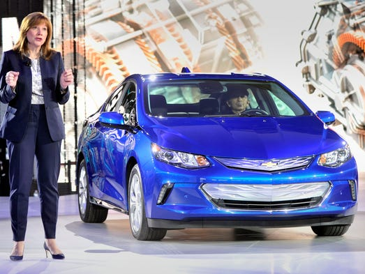 General Motors CEO Mary Barra  introduces the 2016
