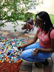 During Woodville's open house event, proud students took pictures of their rocks to share with family and friends