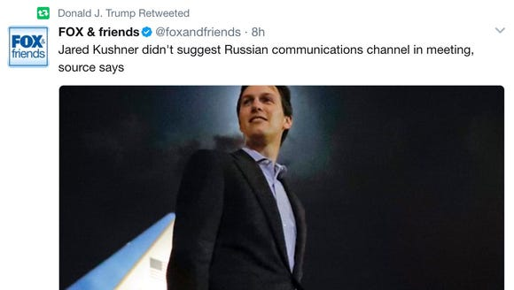 President Trump retweets a story about son-in-law and