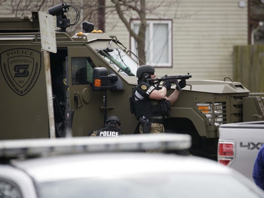 Springfield police at the scene of a standoff in March.