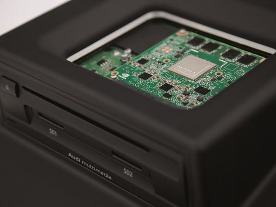 NVIDIA chip on a circuit board in a CD drive.