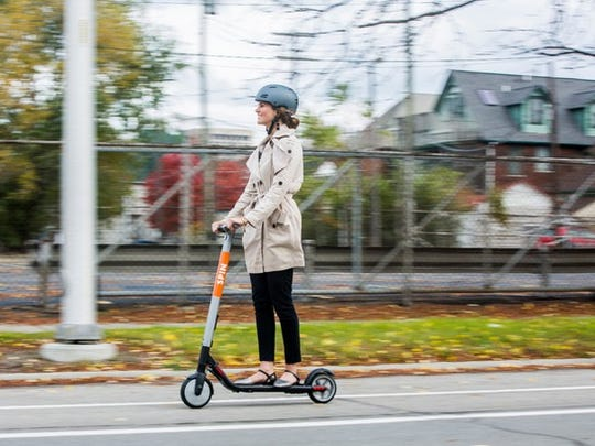 "Spin offers short-term rentals of battery-powered ""e-scooters"" in cities and on college campuses."