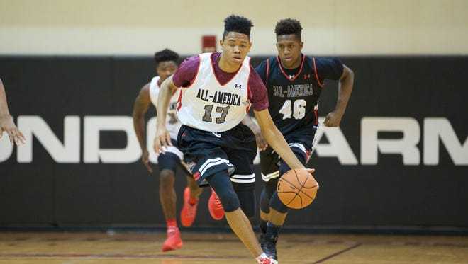 Louisville pledge Anfernee Simons leads the break at UA All America Camp at Philadelphia University.