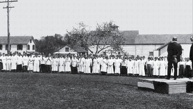 Ernst Lederle addresses employees at Lederle Antitoxin Laboratories in Pearl River before resigning as president to take the position, for his second term, as New York City commissioner of health under newly the elected mayor, William Jay Gaynor, in 1910.
