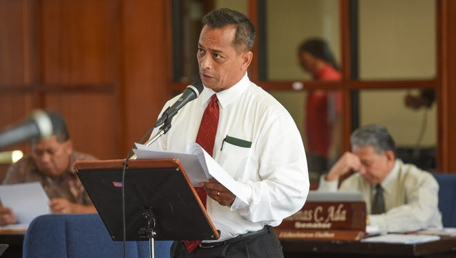 In this file photo, Sen. Frank Aguon Jr. speaks during the first legislative session in  the renovated Guam Legislature building, formerly the Guam Congress building, in Hagåtña on Dec. 27, 2016.