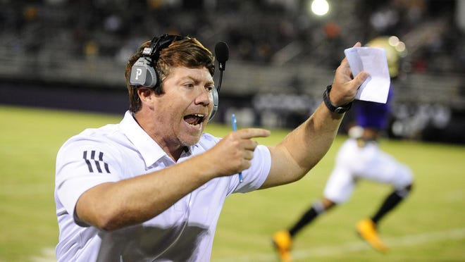 ARC Head Coach Lyle Burns gives instructions to his players during the first half at the high school football game between Thomson and ARC on October. 16, 2020 in Augusta, Ga.