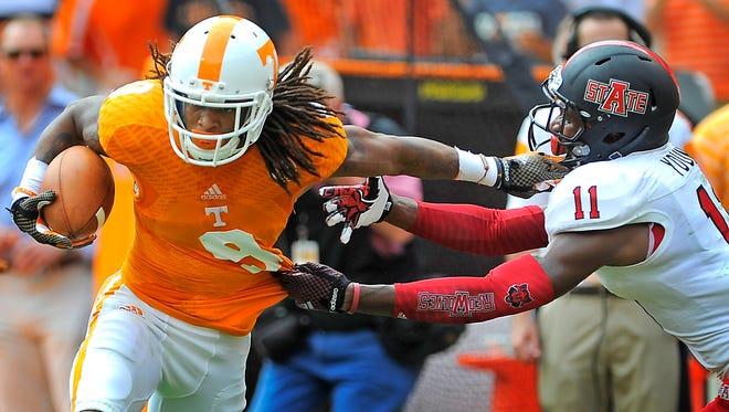 Tennessee wide receiver Von Pearson (9)