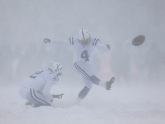 Indianapolis Colts kicker Adam Vinatieri (4) misses a field goal during the first half against the Buffalo Bills at New Era Field.