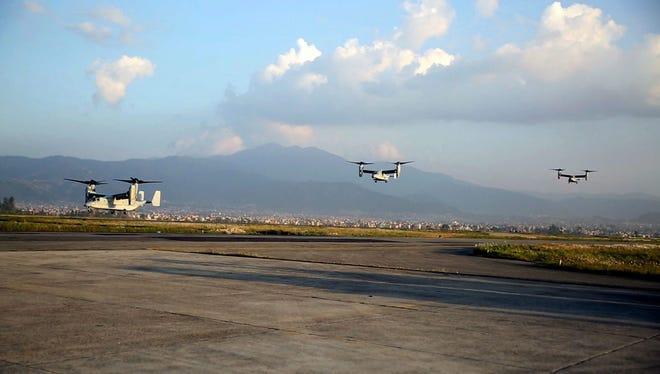 Marine V-22 Ospreys arrive at Tribhuvan International Airport in Kathmandu, Nepal on May 3.
