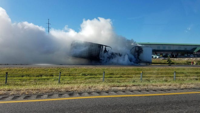 A vehicle fire on Interstate 94 east of Albany closed eastbound lanes on Tuesday, Oct. 18.