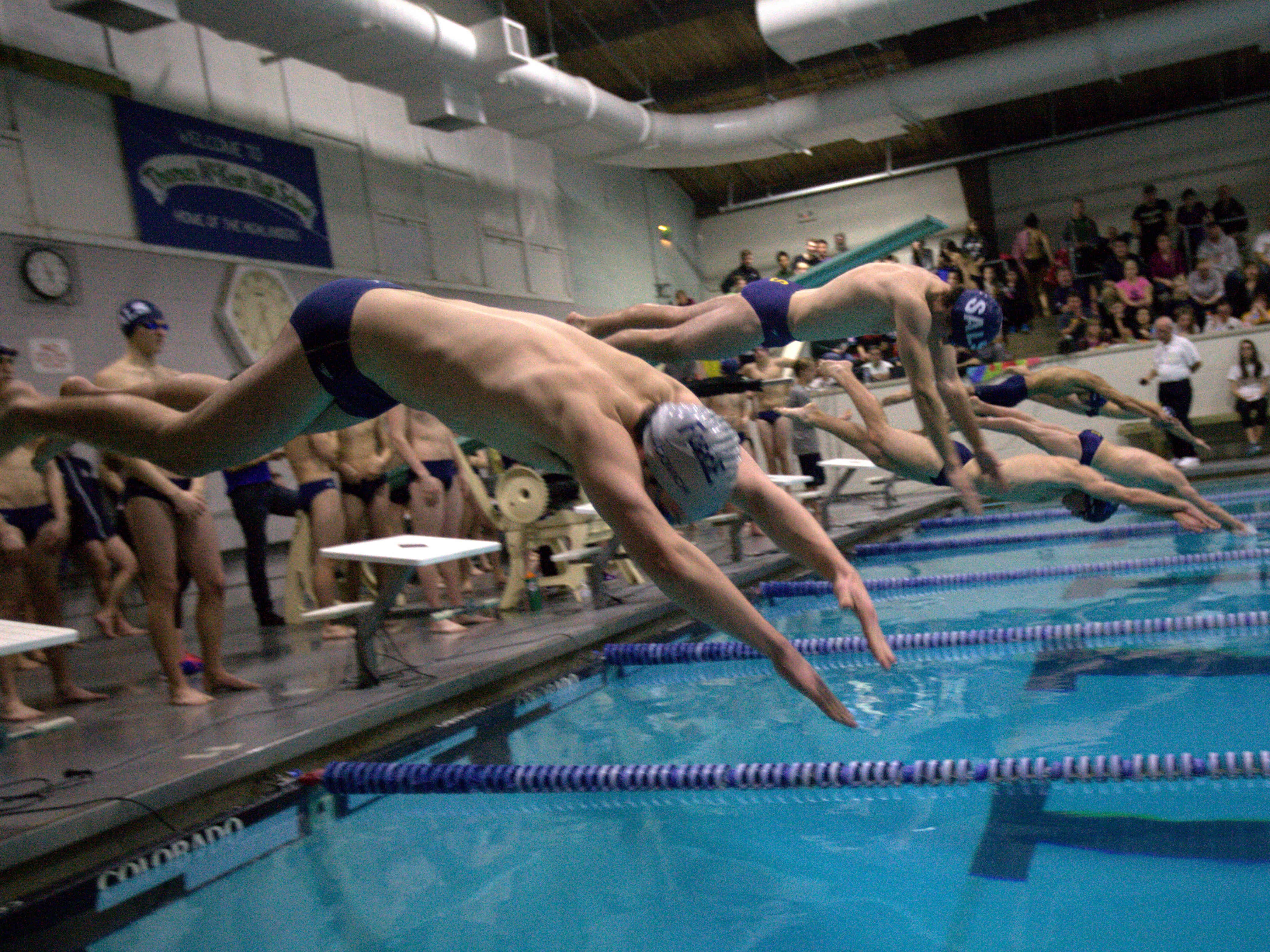 Charter and Salesianum begin the 500 yard freestyle event. The Charter School of Wilmington swim team hosts Salesianum and Padua in a battle of top seeds.