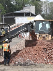 Demolition work at Memorial Field on June 1, 2018.