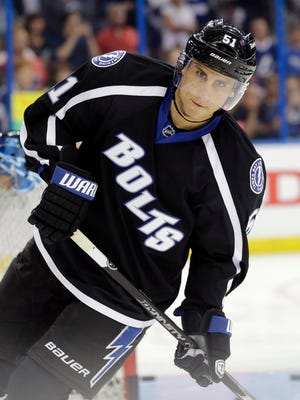 Tampa Bay Lightning center Valtteri Filppula skates before a game against the Boston Bruins on Saturday, April 11, 2015, in Tampa.