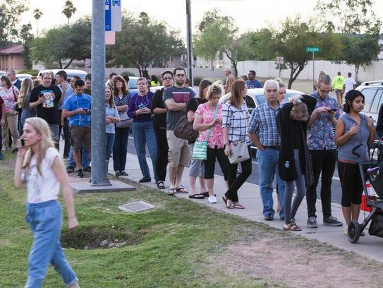 Voters wait in line at Pilgrim Evangelical Lutheran