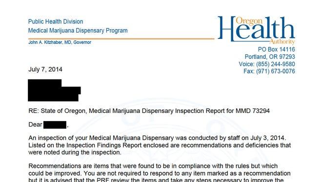 Medical marijuana dispensary inspection report for Nature Quest DBA 2nd Step Dispensary.