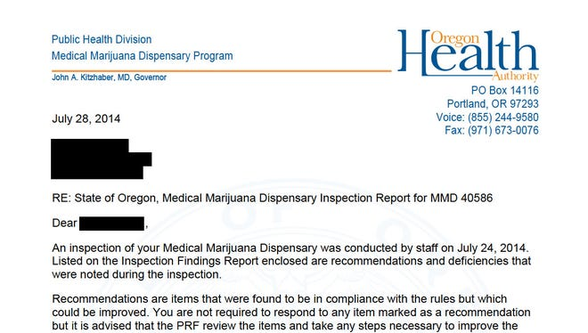 Medical marijuana dispensary inspection report for Ancient Remedies LLC