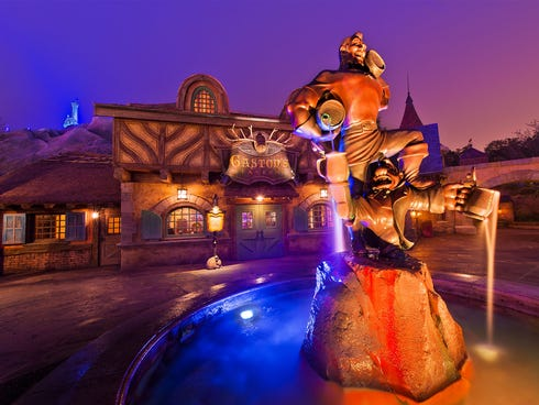 Gaston's Tavern: Although the menu is rather limited at this Fantasyland tavern, if you're in the mood for their signatures, you're in luck. Indulge in a 20-ounce pork shank ($9.99) that's slow roasted until tender and finished with a tangy barbecue