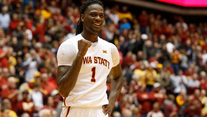 Iowa State forward Jameel McKay (1) celebrates in the final seconds of the 85-75 win over Texas Saturday, Feb. 13, 2016, at Hilton Coliseum in Ames.