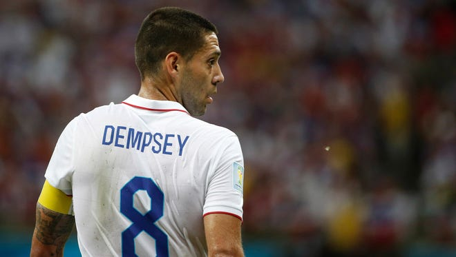 United States forward Clint Dempsey (8) looks on with a black eye during the first half of a 2014 World Cup game against Portugal at Arena Amazonia.