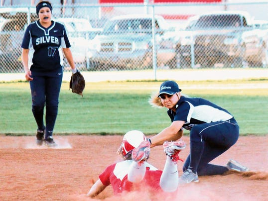 Danny Udero/Sun-News   Silver's Asia Morales places the tag on a Cobre baserunner during action Tuesday night at Tom Powers Field in Bayard.