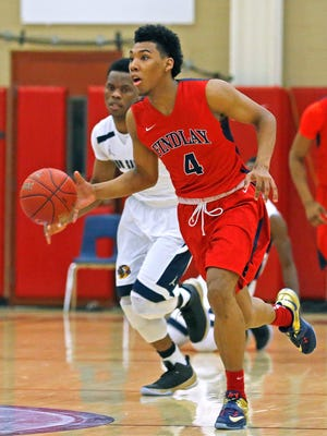 Allonzo Trier of Findlay Prep plays against Our Savior New American during a Hoophall West High School Invitational game on Friday, Jan. 2, 2015 in Scottsdale.