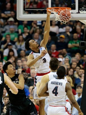 in the second half of the NCAA Tournament Elite 8 game between the Gonzaga Bulldogs and the Xavier Musketeers at the SAP Center in San Jose, Calif., on Saturday, March 25, 2017. Xavier was eliminated from the tournament after an 83-59 loss to the 1-seeded Bulldogs.