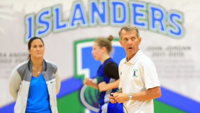Texas A&M-Corpus Christi head coach Royce Chadwick watches his players during practice. Chadwick is entering his fifth season.