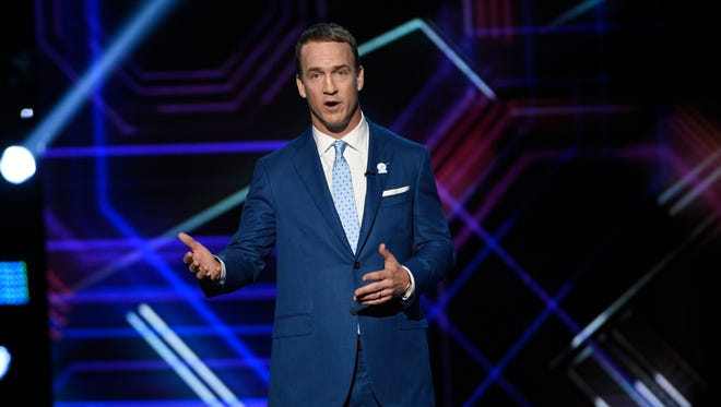 Host Peyton Manning speaks at the ESPYS at the Microsoft Theater on Wednesday, July 12, 2017, in Los Angeles.