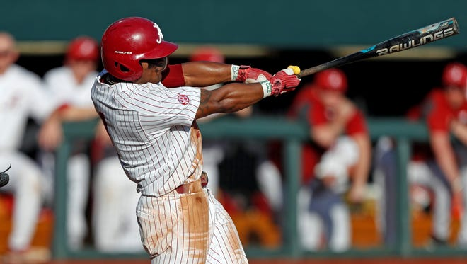 Alabama baseball player Cobie Vance batting against Washington State on Feb. 24 in Tuscaloosa.