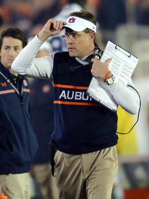 Auburn coach Gus Malzahn during the first half of the 2014 BCS National Championship game against the Florida State Seminoles at the Rose Bowl.