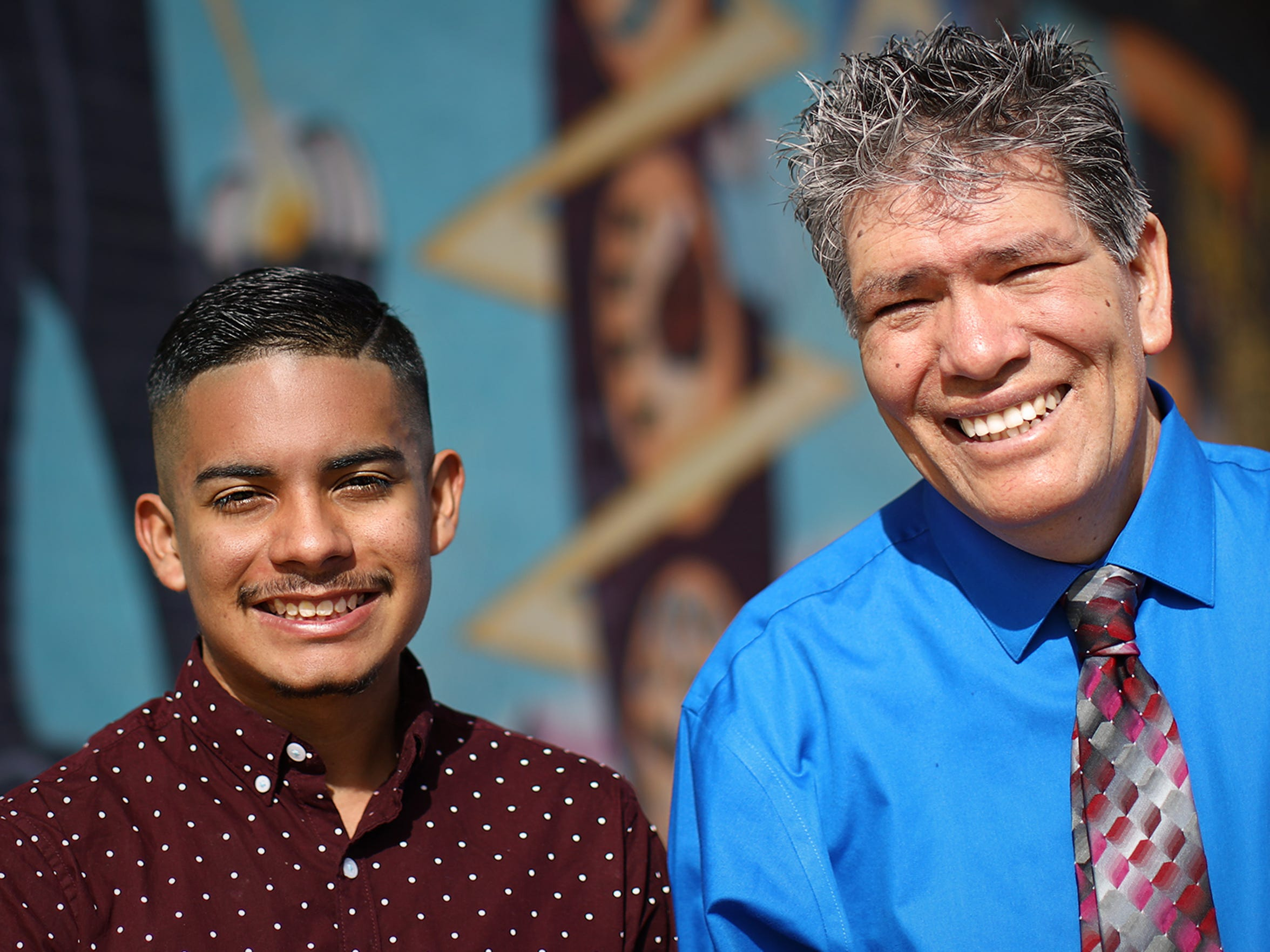 Gabriel Holguin, left, a student at Alma d'Arte Charter High School, nominated his former teacher, Manuel Mendoza, for national recognition through a nonprofit called Honored. And Mendoza was selected as the April 2018 honoree.