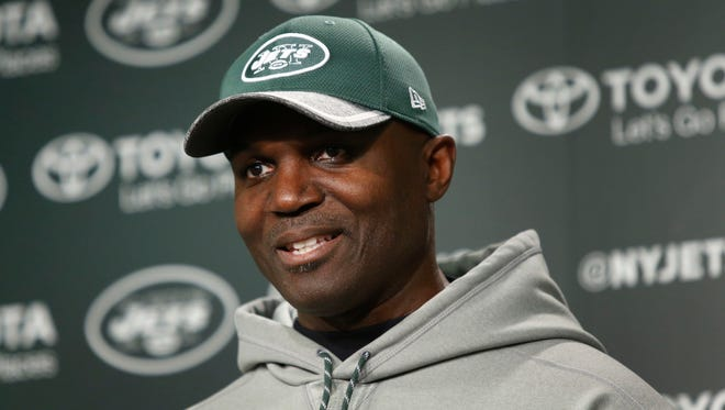 May 5, 2017; Florham Park, NJ, USA;  New York Jets head coach Todd Bowles answers questions from media during Jets rookie mini camp at Atlantic Health Training Center.