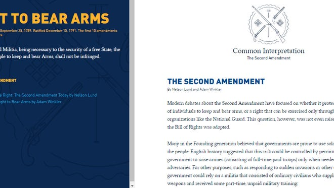 """Screen shot from the National Constitution Center's """"Interactive Constitution,"""" a website that has seen nearly 5 million page views."""