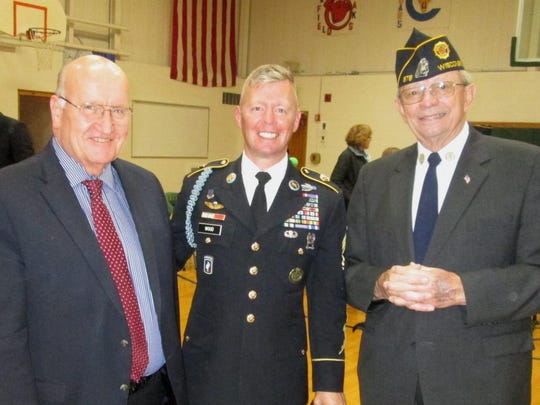 From left, Fond du Lac County Executive Allen Buechel, Ripon ROTC Master Sgt. Buss Wood, and Mr. James Otto.