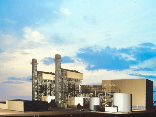 The height of  a proposed new natural gas plant at