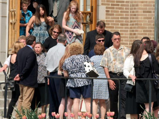 Attendees leave Otterbein United Methodist Church  in Mount Wolf after a celebration of life service for Abby Osborn Saturday, April 29, 2017. The Northeastern High School student was struck and killed  by an alleged hit-and-run driver early last Sunday morning. Attendance at the service was standing room only. Bill Kalina photo