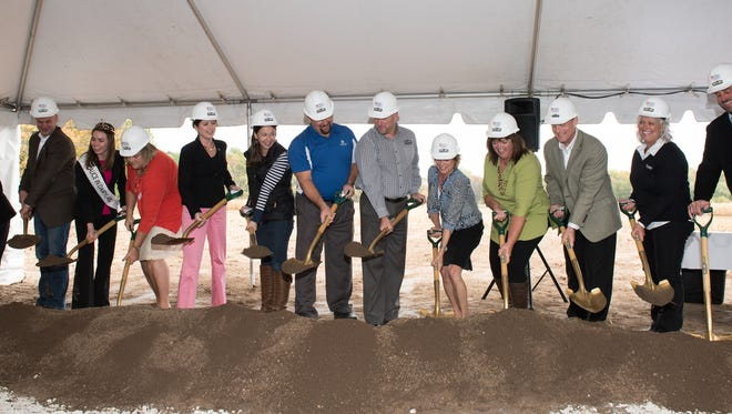 Ground was broken on the Wisconsin Agricultural Education Center in Newton in October 2016. Pictured left to right are: Jean Dvorak, widow of Norval Dvorak, WAEC visionary; Corey Geiger, campaign co-chairman and managing editor of Hoard's Dairyman; Ann O'Leary, 69th Alice in Dairyland; Sarah Klavas, deputy secretary of tourism; Rebecca Kleefisch, 44th lieutenant Governor; Melissa Bender, WAEC executive director; Roger Sinkula, chairman of the WAEC Building Committee and agricultural lender at Investors Community Bank; Shawn Mueller, Bayland Buildings; Lydia Botham, Land O'Lakes Foundation; Julie Maurer, WAEC Board president and Soaring Eagle Dairy; Dave Armstrong, president and CEO, GreenStone Farm Credit Services; Laurie Schetter, WAEC Board of Directors member and GreenStone Farm Credit Services; and Nic Schoenberger, WAEC Board of Directors member, vice president and Greendale Dairy.