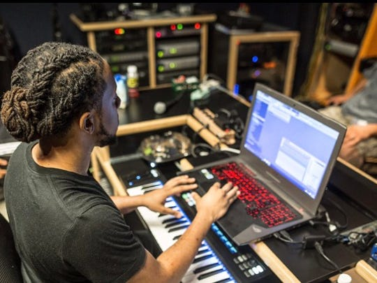 """Willingboro native Cardiak works on music in the studio. Named Carl McCormick, the music producer is nominated for two Grammy Awards this year as part of Drake's """"Views"""" album ."""