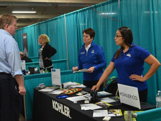 Kohler Co. recruiters met with job seekers at Thursday's
