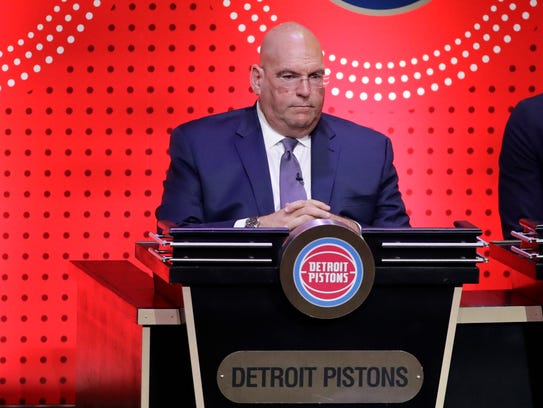 Detroit Pistons general manager Jeff Bower is introduced